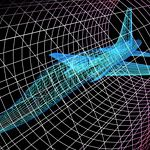 Simulation of an aircraft model being analyzed in wind tunnel for aerodynamic effects